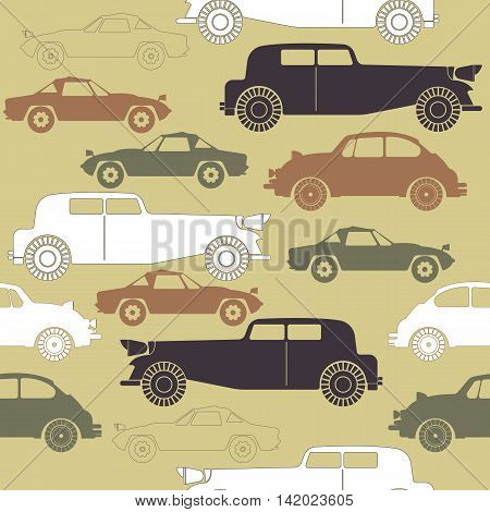 Creative seamless pattern with set of retro cars. Perfect template for paper ,linen, tissue ,design fabric ,coloring book and more creative designs.