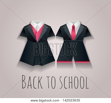 Vector illustration of children's uniforms for school. Figures of origami paper. Back to school.