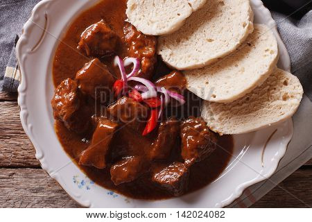 Czech Cuisine: Beef Goulash With Knodel Macro. Horizontal Top View