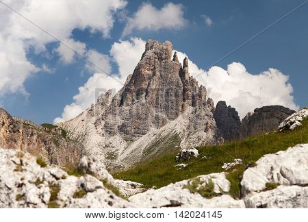 panoramic view of mount Croda da Lago one of beautiful mountains in italian Dolomites