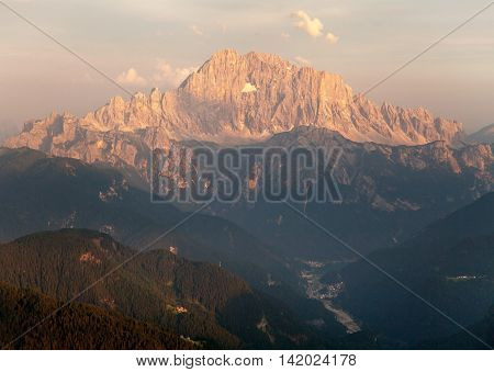 Evening view of Mount Civetta - one of the best mouts in Italien Dolomites Alps mountains