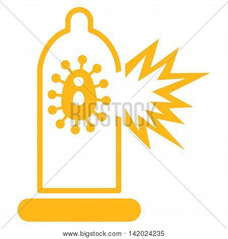 Damaged Condom With Virus vector icon. Style is flat symbol, yellow color, rounded angles, white background.