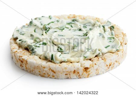 Puffed Rice Cake With Chive And Herb Spread Isolated On White.