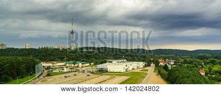 Vilnius, Lithuania: aerial view of TV tower and Exhibition Centre in the summer