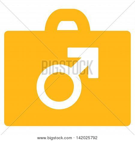Potence Tools vector icon. Style is flat symbol, yellow color, rounded angles, white background.