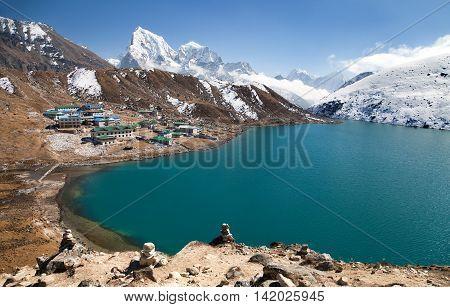 Dudh Pokhari Tso or Gokyo lake Gokyo village Ngozumba glacier Arakam tse peak and chola tse peak from Gokyo Ri - trek to Cho Oyu base camp Khumbu valley Sagarmatha national park Nepal