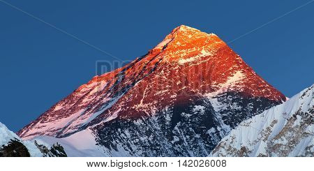 Evening view of Mount Everest - way to Everest base camp - Nepal