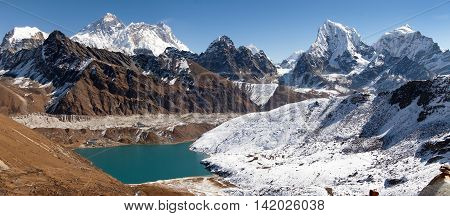 Panoramic view of Everest Lhotse Makalu and Gokyo Lake from Renjo La pass - way to Everest Base camp Three passes trek Khumbu valley Sagarmatha national park Nepal