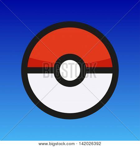 Pokeball hanging in the air on a blue background