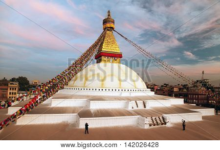 Evening beautiful view of Bodhnath stupa - Kathmandu - Nepal