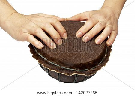 Woman hands are on drum isolated on white