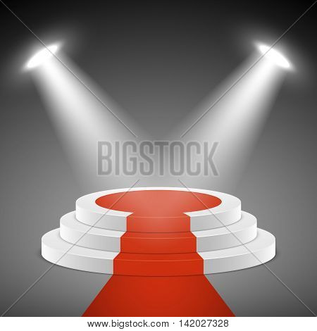 Spotlights illuminate stage pedestal with red carpet. Pedestal for award ceremony. Illustration empty pedestal stage vector