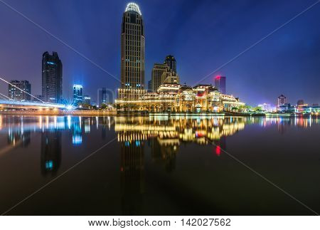 Cityscape of Shanghai at night