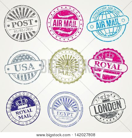 Retro postage stamps for airmail vector. Set of stamp with name city, illustration of vintage stamps