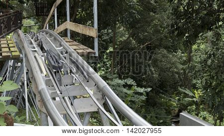 track of roller coaster in jungle forest