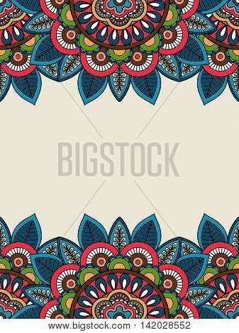 Indian doodle floral frame, vertical format. Vector illustration