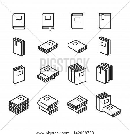 Office folders icons set in black and white. Vector illustration