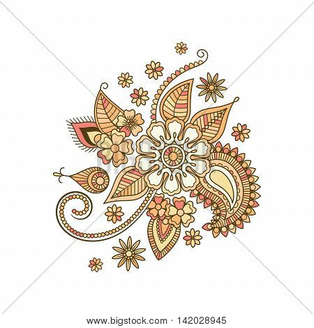 Beige colorful decorative floral isolated element. Vector illustration