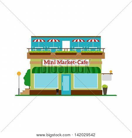 Mini Market Cafe flat style icon isolated on white. Vector illustration