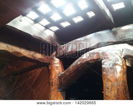 Looking Up Through The Hatch Of An Old Timber Sailing Ship