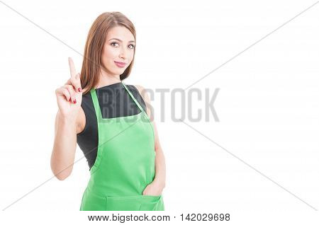Beautiful Female Seller Pointing Finger Up