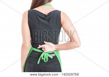 Woman Employee With Finger Crossed Behind Her Back
