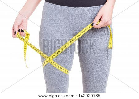 Fit Girl Holding Tape Line Around Leg