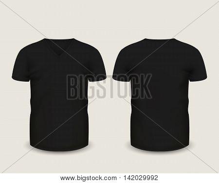 Men's black V-neck t-shirt short sleeve in front and back views. Vector template. Fully editable handmade mesh. EPS 10