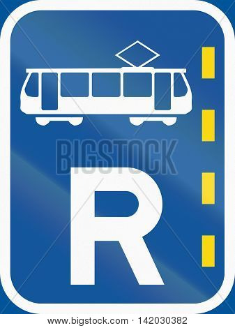 Road Sign Used In The African Country Of Botswana - Reserved Lane For Trams
