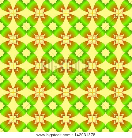 The pattern for the day of St. Patrick's Day. Green shamrocks on light green background to a pattern or background.
