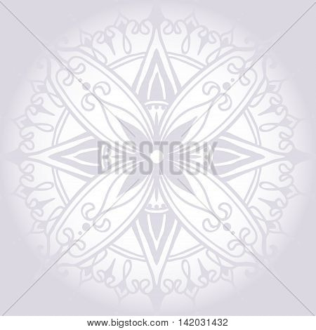 Card with Round Mandala. Floral round pattern for the greeting cards invitation template frame design for business style cards or else. Vector illustration