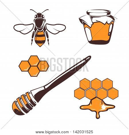 Beekeeper, bee, honey vector design elements isolated over white. Natural honeyed illustration