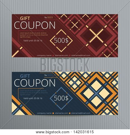 Vector illustration of gift voucher template collection. Coupon doscount cards.