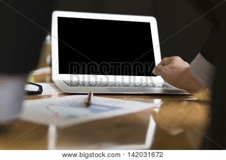 Businessman In Suit Analyse Market Analysis Business Chart With Computer
