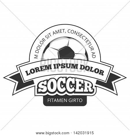 Vector soccer logo, badge template isolated in black white. Championship of soccer game illustration