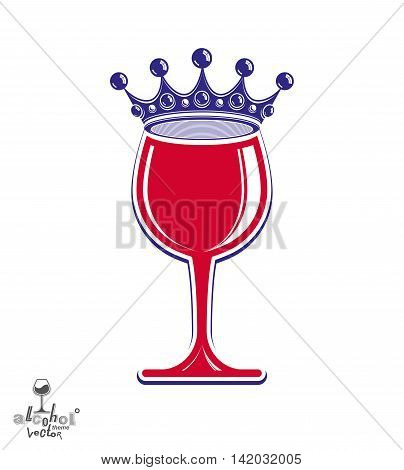Stylish luxury wineglass with imperial crown isolated on white background.