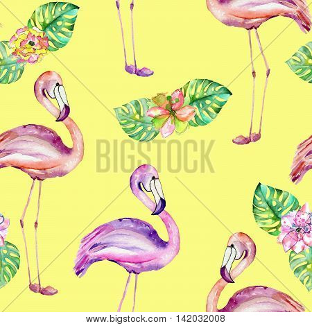 Seamless pattern with the flamingo and exotic flowers, hand painted in watercolor on a yellow background