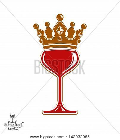 Sophisticated luxury wineglass with golden imperial crown. Leisure and lifestyle theme vector goblet.