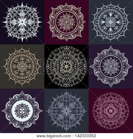 Set of nine circular floral ornaments. Round Pattern Mandala on dark backgrounds. Can be used for the greeting cards invitation template frame design for business style cards or else.