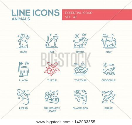 Animals - set of modern vector plain line design icons and pictograms of animals. Hare, cat, hyena, cow, llama, turtle, tortoise, crocodile, lizard, frilledneck lizard chameleon snake