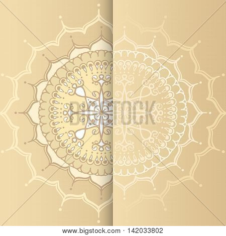 Card with circular floral ornament. Round Pattern Mandala. Floral round pattern for the greeting cards invitation template frame design for business style cards or else. Vector illustration