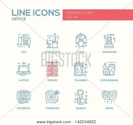 Set of modern vector office plain line design icons and pictograms. Fax, workplace, e-mail, telephone, laptop, notebook, planning, coffee break, sever targeting search news