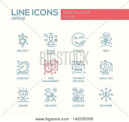 Set of modern vector business, finance, office plain line design icons and pictograms. Security, social media, mission, idea, strategy, time management, payment methods, analytics, award delivery location network