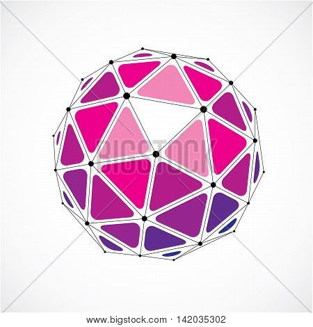 3D Vector Low Poly Spherical Object With Black Connected Lines And Dots, Geometric Purple Wireframe