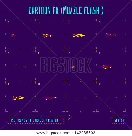 Fire sprites or animation frames icons. Use in game development, mobile games or motion graphic. Vector illustration.