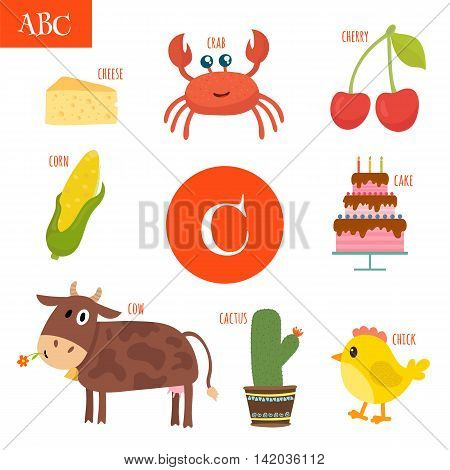 Letter C. Cartoon Alphabet For Children. Cake, Cow, Cherry, Cactus, Cheese, Crab, Corn, Chick