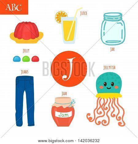 Letter J. Cartoon Alphabet For Children. Jellyfish, Jelly, Jar, Juice, Jam, Jeans