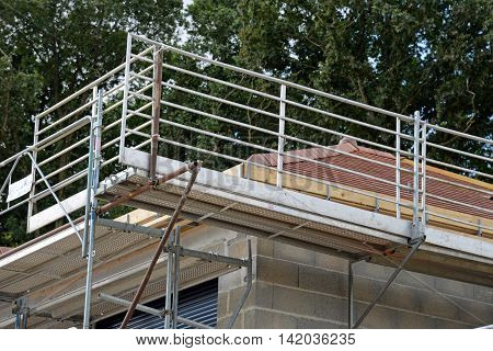 a railing of a house under construction