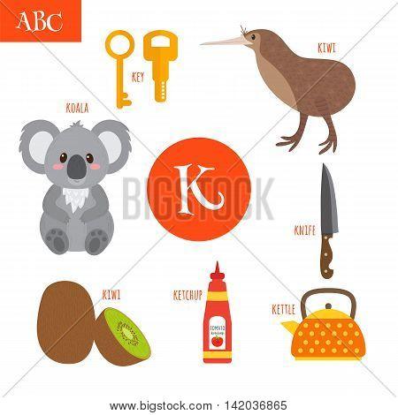 Letter K. Cartoon Alphabet For Children. Koala, Key, Kettle, Ketchup, Kiwi, Knife