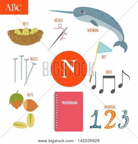 Letter N. Cartoon Alphabet For Children. Nest, Needle, Notebook, Net, Numeral, Nails, Nuts, Note, Na